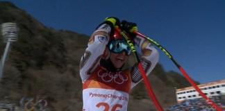 Ester Ledecka al llegar a la meta del super G de Pyeongchang y comprobar que el oro era suyo