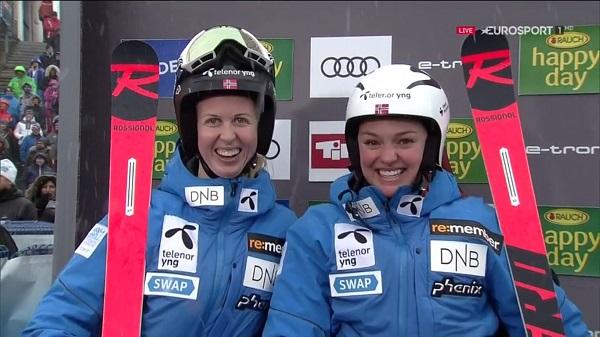 Thea Louise Stjernesund, 'top ten' en su primera carrera en la Copa del Mundo, junto a su compatriota Kristin Gjelsten Haugen