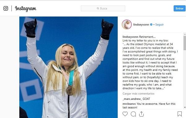 Vonn se ha despedido de sus seguidores en una carta que también ha publicado en su cuenta de Instagram