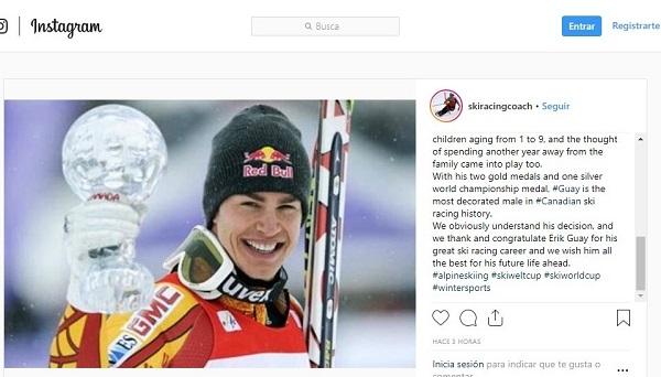 Con una nota en su cuenta de Instagram Erik Guay ha anunciado su retirada