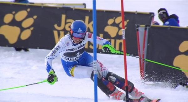 Petra Vlhova, de nuevo segunda tras Shiffrin. Ha sido la tercera vez en cuatro slaloms que llevamos esta temporada.