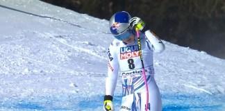 Lindsey Vonn, abatida tras el super G de Cortina. Ahí empezó a meditar su retirada definitiva.