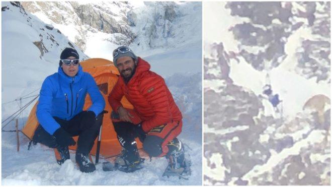 Tom Ballard y Daniele Nardi a la izquierda, las siluetas en el Nanga a la derecha