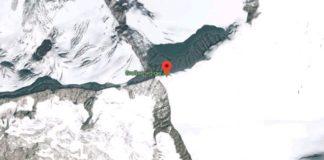Punto del glaciar donde ocurrieron los hechos
