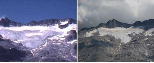 Glaciar de la Maladeta en 1986 (izquierda) y este año (derecha)