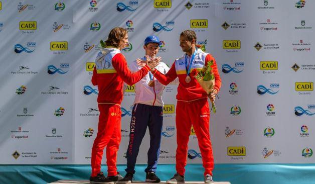 David Llorente y Joan Crespo, en el podio de K1 en el Mundial de La Seu de Urgell