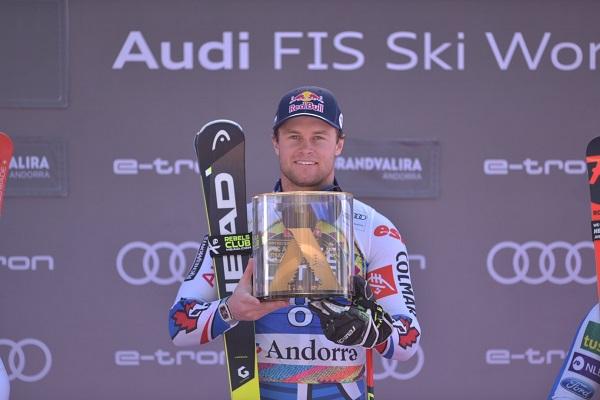 Pinturault en el podio de su última victoria, en el gigante de las finales de Soldeu del pasado marzo.