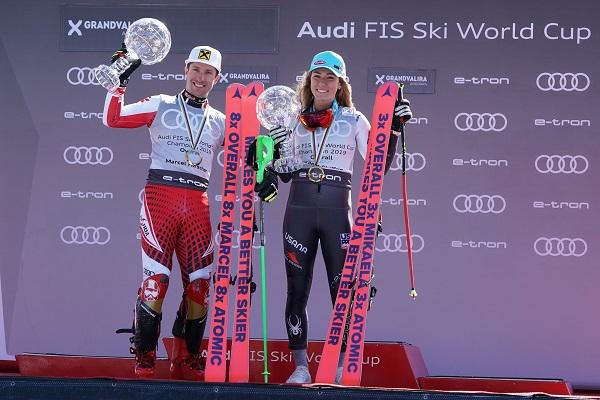 Marcel Hirfscher y Mikaela Shiffrin, los grandes triunfadores de la temporada pasada. FOTO: Oriol Molas