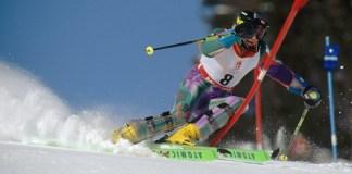 Blanca Fernández Ochoa, en el slalom de Albertville 92 en el que se colgó el bronce. FOTO: © Toni Campañà