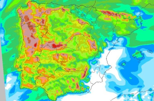 Acumulaciones de perecipitación hasta domingo