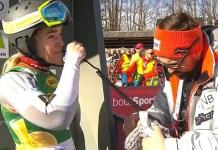 Nina Haver Loeseth en el slalom de Kranjska Gora, que fue su última carrera en la Copa del Mundo.