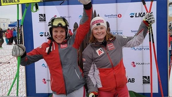 Egger y Grill en uno de los tres podios que conquistaron en el Mundial junior de Narvik. FOTO: ÖSV