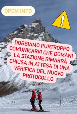 Con este slogan Cervinia avisa del cierre hasta tener a punto el nuevo protocolo