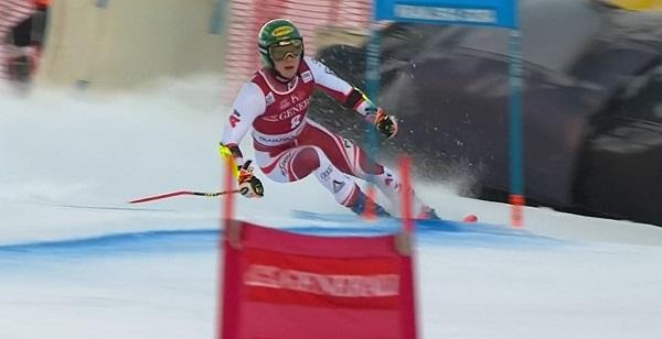 Katharina Liensberger no ha tenido su mejor día en el primer gigante de Kranjska Gora.