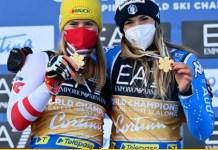Después de la ceremonia del podio se ha decidido otorgar oro 'ex-aequo' a Katharina Liensberger. FOTO: fiski.com