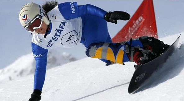 Julie Pomagalski durante el slalom gigante paralelo del Mundial de 2007