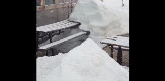 La nieve cubría el refugio italiano de Punta Penia