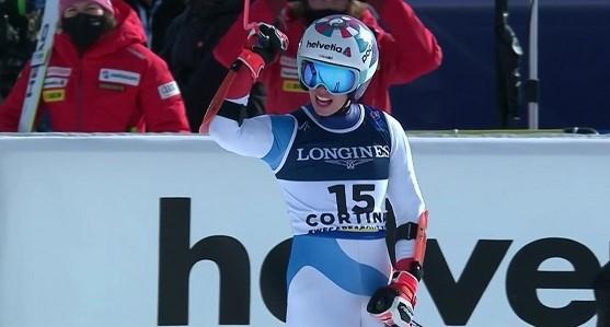 Michelle Gisin, vigente campeona olímpica de combinada, tras acabar tercera en la del pasado Mundial de Cortina d'Ampezzo.