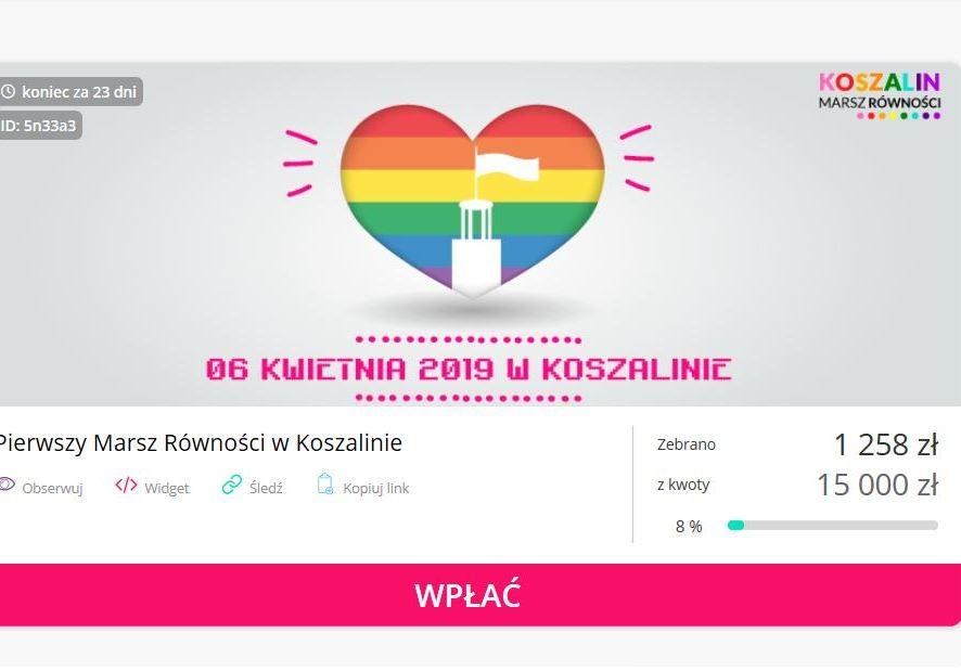 Koszaliński Marsz Równości. Organizatorzy stworzyli zrzutkę na imprezę. Kołobrzeżanie organizują wspólny wyjazd.