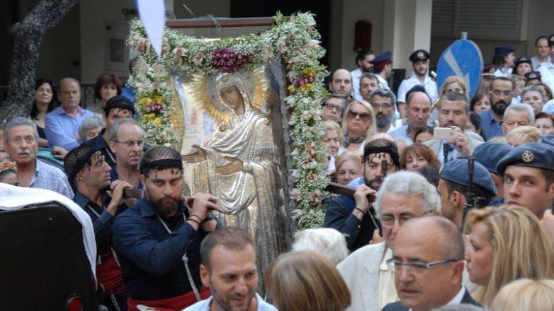 Η Ιερά εικόνα της Παναγίας Γεροντίσσης από το Άγιον Όρος στον Ι. Ν. Αγ. Τριάδος Ν. Ηρακλείου
