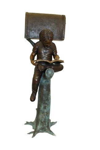 "Boy Sitting by a Mailbox reading a book Bronze Statue -  16""L x 20""W x 50""H."