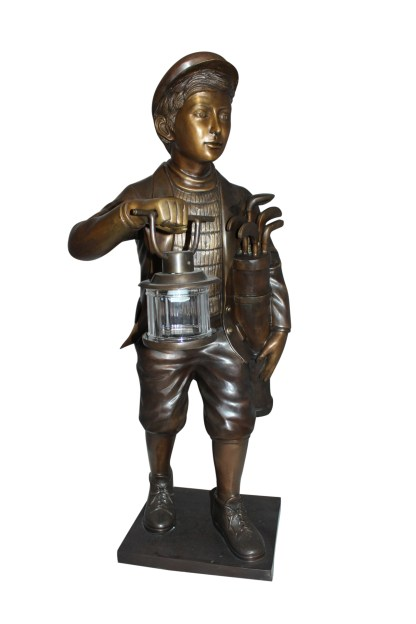 "Caddy with light Bronze Statue -  Size: 19""L x 19""W x 42""H."