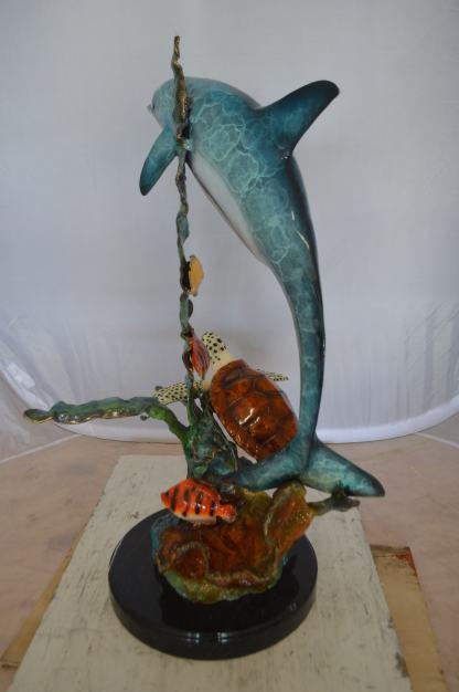 "Dolphin , Turtle And Fish Bronze Statue -  Size: 18""L x 16""W x 25""H."
