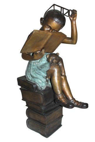 "Girl sitting on a stack of books reading a book Bronze Statue -  17""x 18""x 36""H"
