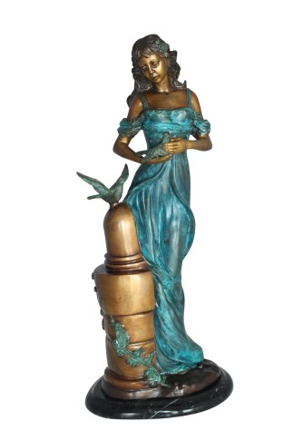 "Girl with a Bird Bronze Statue -  Size: 7""L x 7""W x 18""H."