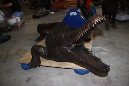"Alligator fountain - Bronze Statue -  Size: 77""L x 34""W x 18""H."