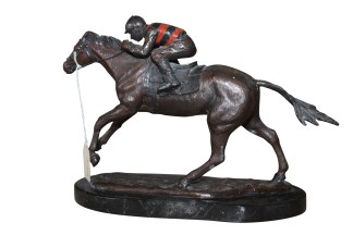 "Jockey on horse - Bronze Statue -  Size: 11""L x 4""W x 8""H."