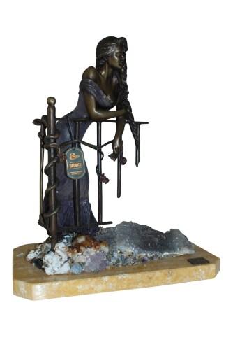 "Judith Bronze Statue on Amethyst stone by Vidal -  Size: 16""L x 10""W x 18""H."