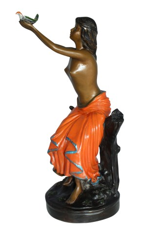 "Lady Holds a Bird Up Bronze Statue -  Size: 7""L x 7""W x 20""H."