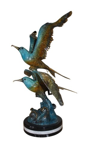 "Two Seagull flying  - Bronze Statue -  Size: 36""L x 17""W x 27""H."