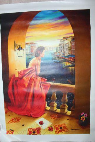"Orlando Quevedo Giclée - Lady in Venice Medium Painting -  Size 20.5""L x 30""W"