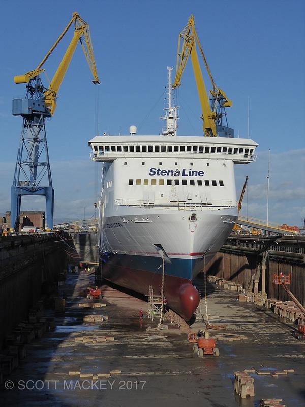 Stena Lagan dry docked at Belfast's Harland and Wolff 28/1/17. Copyright © Scott Mackey.