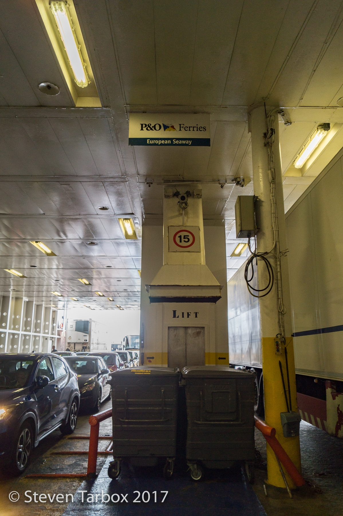 Looking from the bow of the ship towards the lift.    © Steven Tarbox
