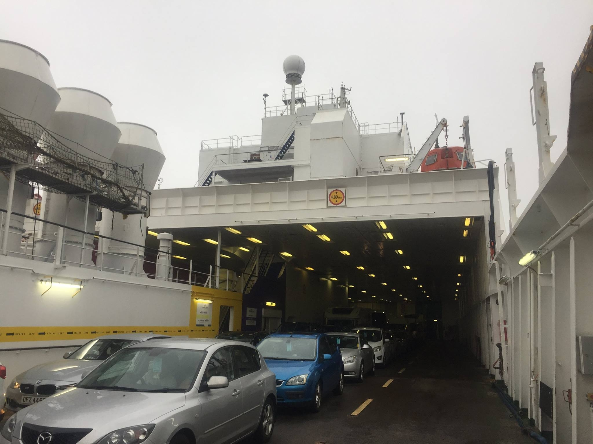 Upper vehicle deck, looking towards the bow, European Seaway. Copyright © Gary Andrews.