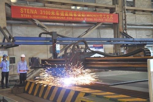Steel cutting gets underway for Stena's E-Flexer class at AVIC Weihai. AVIC