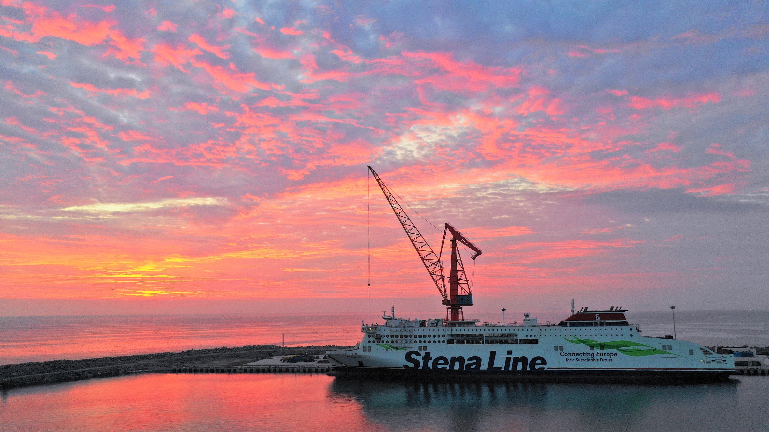 The first Stena E-Flexer class ferry, STENA ESTRID (W0263) seen well into her fitting out period. Stena Line / AVIC ship.