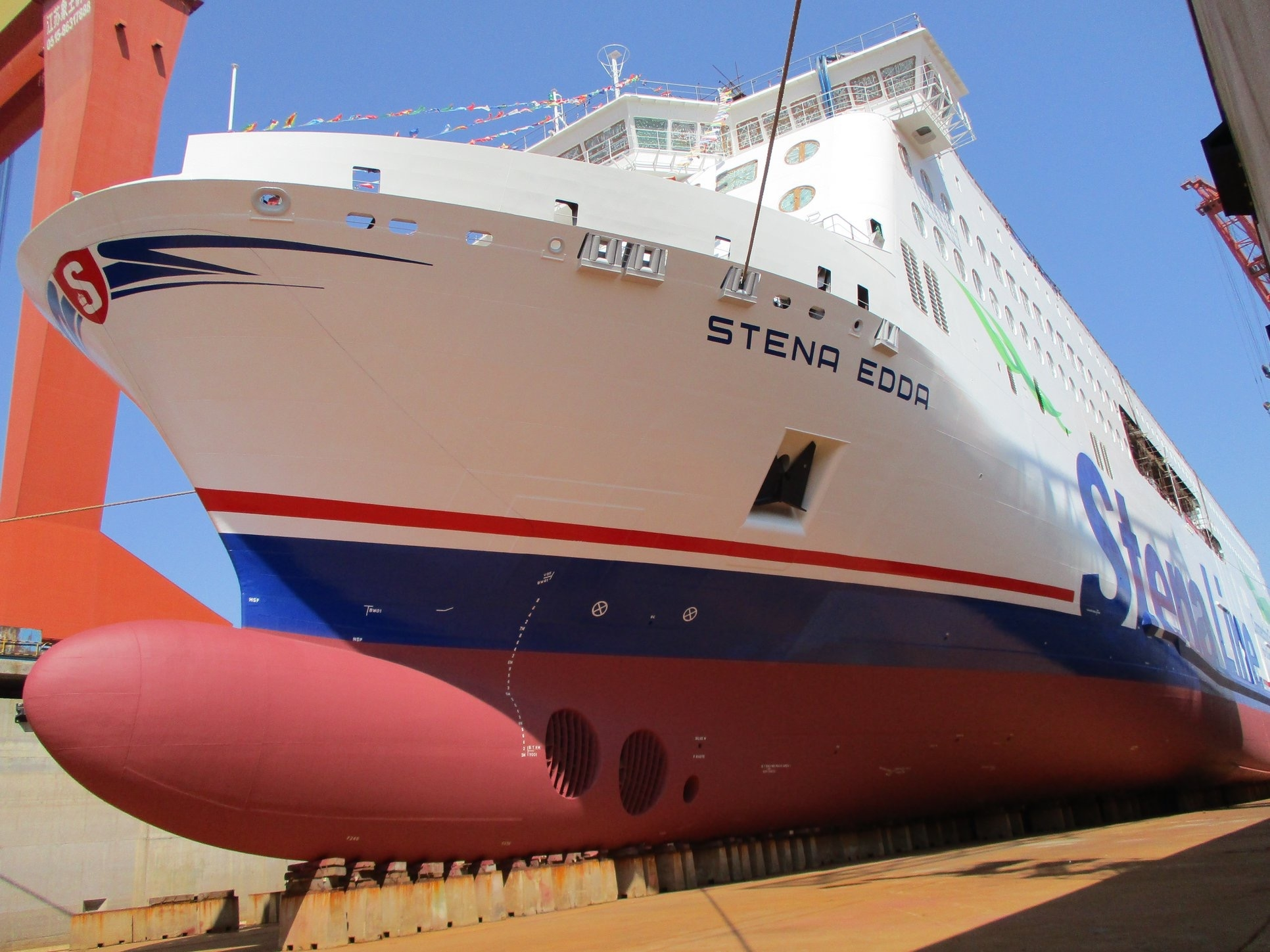 Stena Line's second E-Flexer STENA EDDA prior to being floated for the first time. Stena Line.