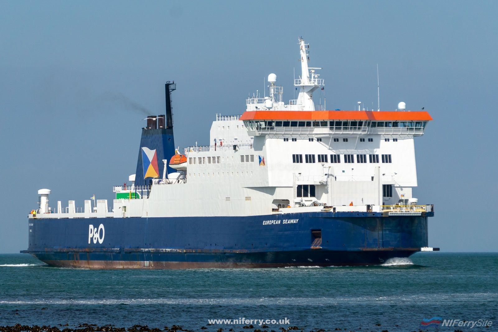 EUROPEAN SEAWAY approaches Larne at the end of her afternoon sailing from Cairnryan. This was her first day of service covering the regular vessels 2019 dry dockings, 16.05.19. Copyright © Steven Tarbox