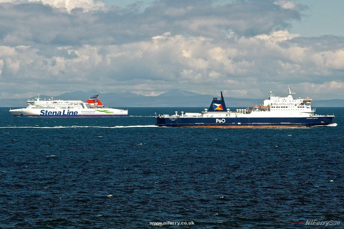 Stena Line's STENA SUPERFAST VIII and P&O Ferries' EUROPEAN SEAWAY pass off Corsewall, 21.05.19. Copyright © Gordon Hislip.