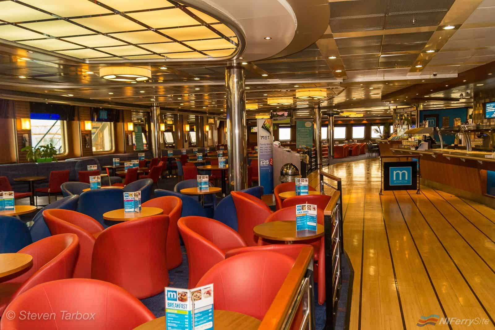"The refurbished (and almost unrecognisable from its previous guise) ""Metropolitan"" Restaurant and Bar on STENA LAGAN. Taken during a visit to Stena Lagan on 2nd November 2015. With many thanks to Captain Stephen Millar for his hospitality. © Steven Tarbox"