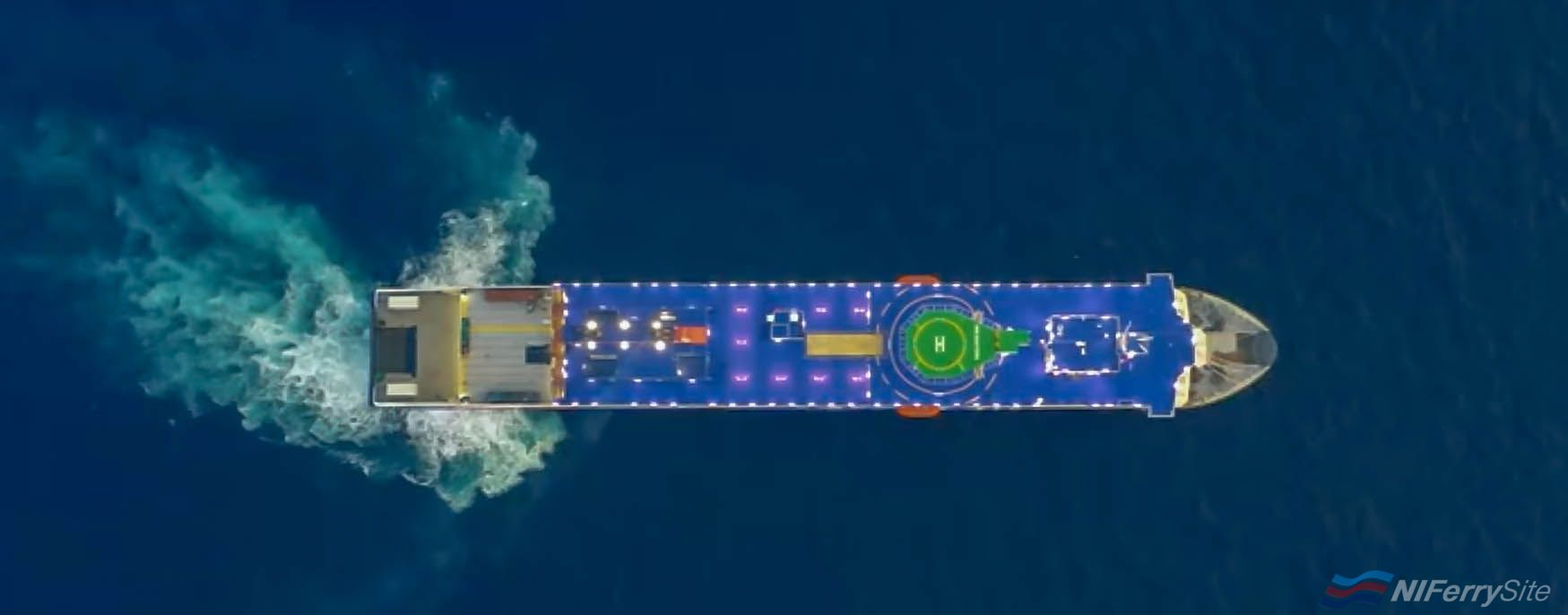 A view from above STENA ESTRID taken during her sea trials. China Merchants (video screenshot)