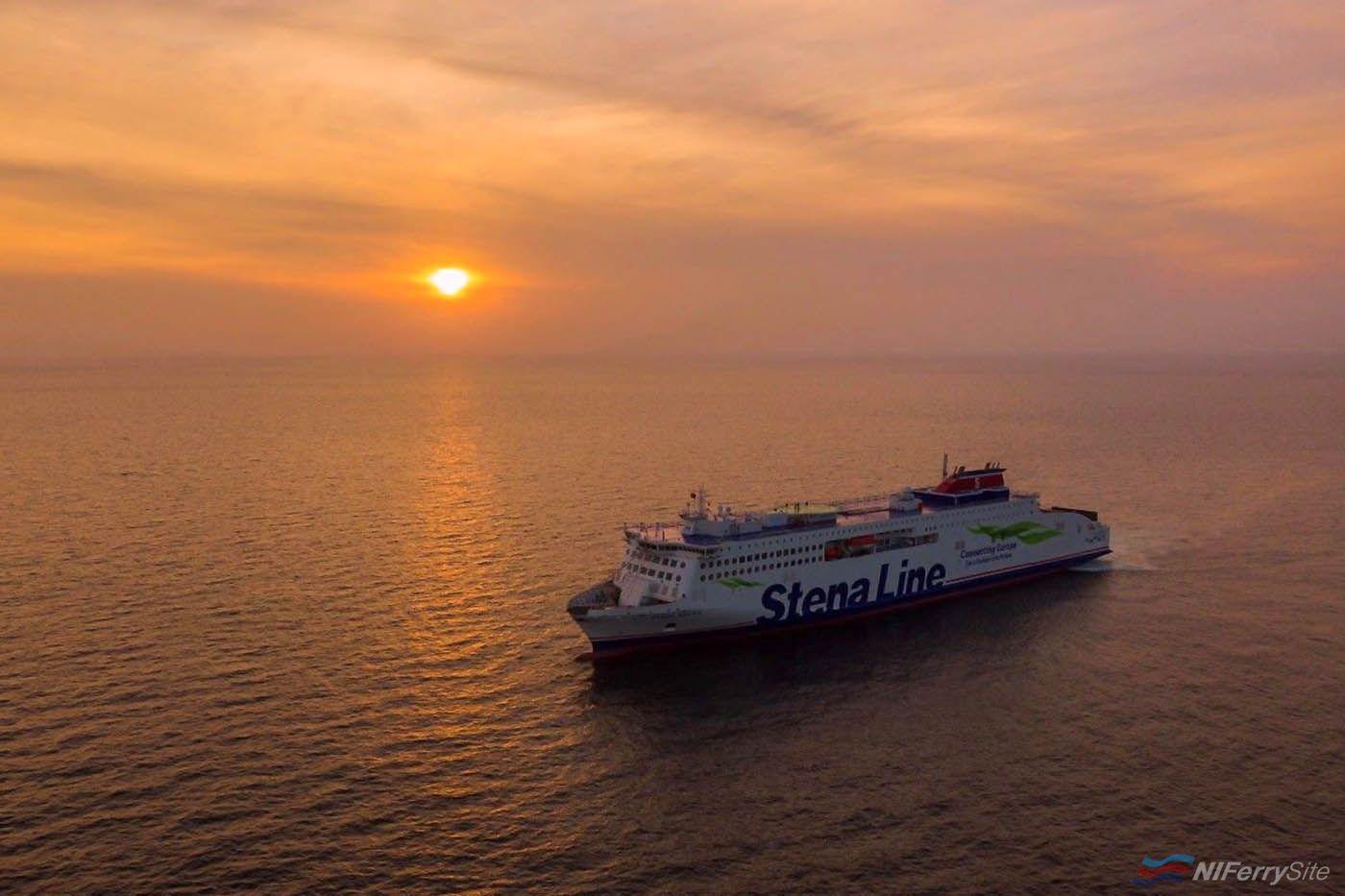 The sun sets on STENA ESTRID, during her sea trials. China Merchants (video screenshot)