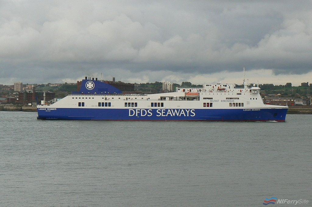 LAGAN SEAWAYS seen in full DFDS livery during October 2010. Copyright © Scott Mackey.