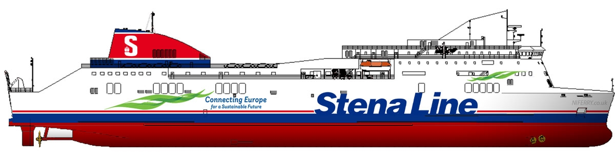 Side profile drawing of STENA LAGAN and STENA MERSEY as they appeared in 2018/19. Copyright © Steven Tarbox.