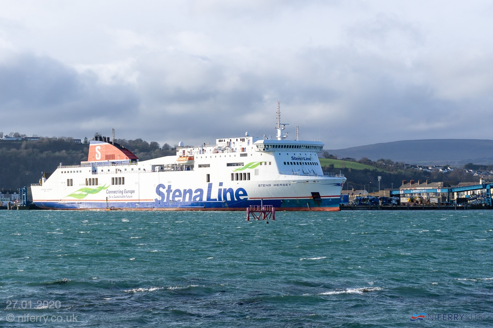 STENA MERSEY at Larne, 27.01.2020. Copyright Steven Tarbox / niferry.co.uk.