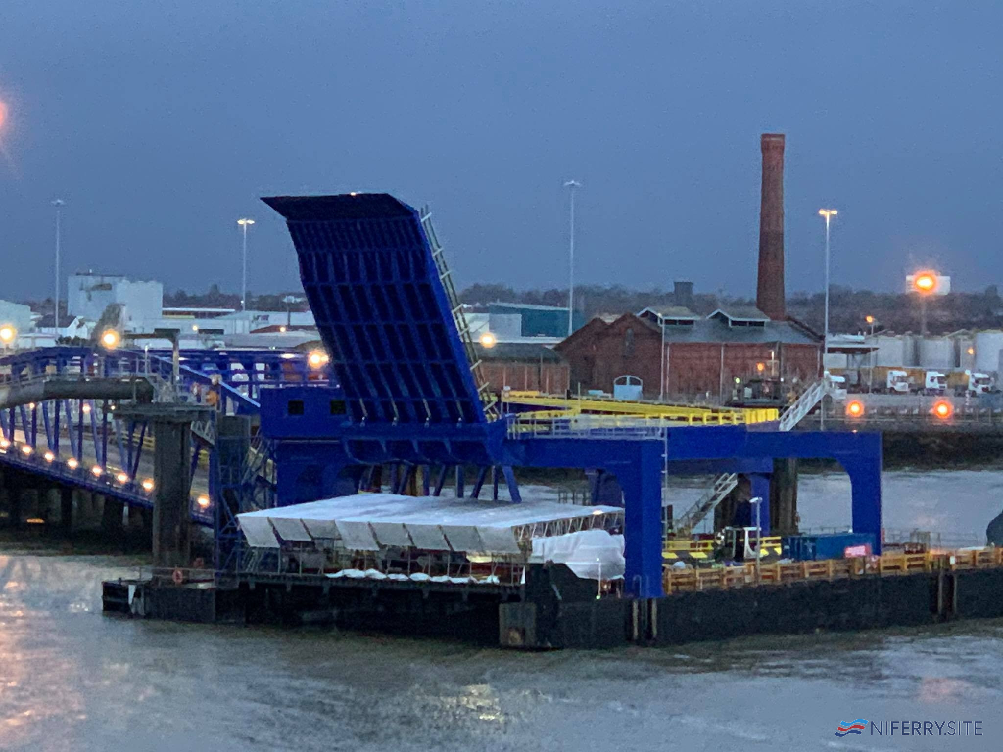 Work continues on upgrading the linkspan and berth at Birkenhead's 12 Quays South. Copyright © David Faerder.
